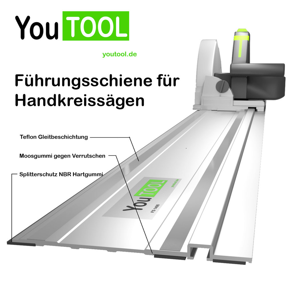 f hrungsschiene f r handkreiss ge 140cm youtool f r tauchs gen von festool makita uvm. Black Bedroom Furniture Sets. Home Design Ideas